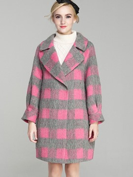 Ericdress Loose Polo Plaid Coat