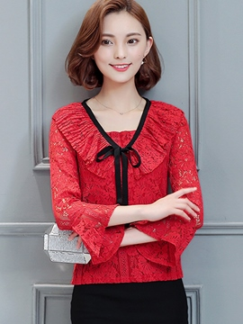 Ericdress Color Block Lace Patchwork Slim Blouse