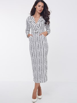 Ericdress Stripe Notched Lapel Split Maxi Dress