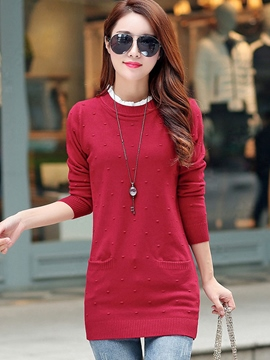 Ericdress Pocket Plain Casual Knitwear