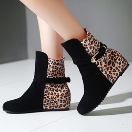 Ericdress Suede Leopard Patchwork Ankle Boots