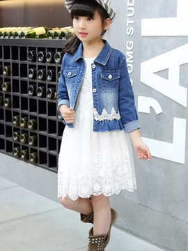 Ericdress Lace Patchwork Hollow Pleated Denim Two-Piece Girls Outfit