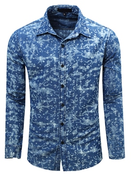 Ericdress Print Denim Casual Men's Shirt
