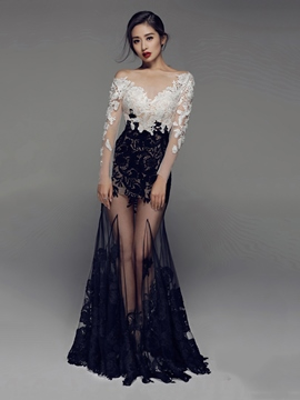 Ericdress Long Sleeves Mermaid Bateau Appliques Lace Evening Dress