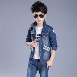 Ericdress Mark Appliques Burr Worn Denim Boys Outerwear