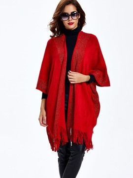 Sisjuly Solid Color Tassel Loose Cardigan Knitwear