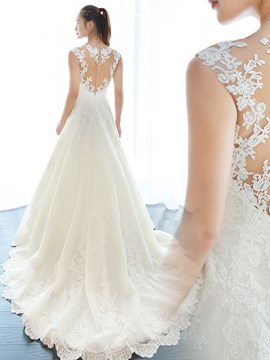Ericdress Beautiful V Neck Appliques A Line Wedding Dress