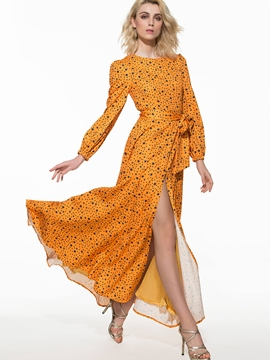 Ericdress Print Long Sleeve Split Maxi Dress