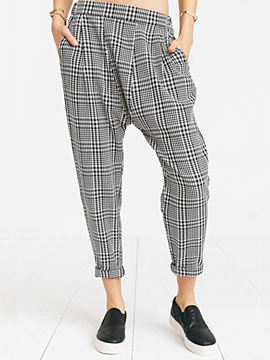 Ericdress Fashion Plaid Harem Pants