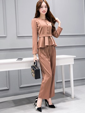 Ericdress Ladylike Stripe Blouse Suit