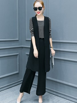 Ericdress Unique Stripe T-Shirt Three-Piece Suit