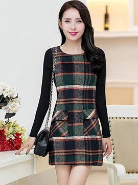 Ericdress Plaid Patchwork Long Sleeve Bodycon Dress