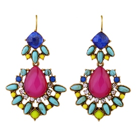 Ericdress Candy Color Water Droplets Earrings