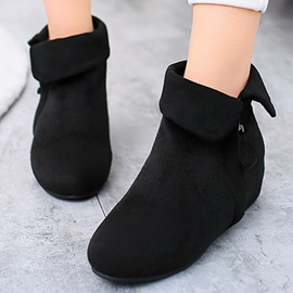 Ericdress Solid Color Elevator Heel Zippered Ankle Boots