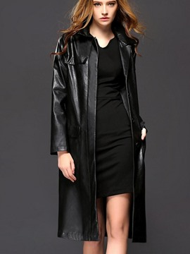Ericdress Black Belt Leather Trench Coat