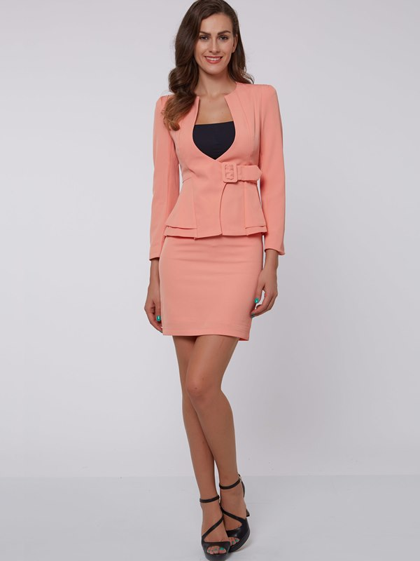 Ericdress Women's Long-Sleeve Blazer and Bodycon Skirt Suit
