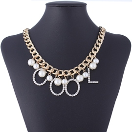 Ericdress Personality Letters Pearl Necklace