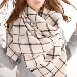 Ericdress Concise Grid Fringed Scarf