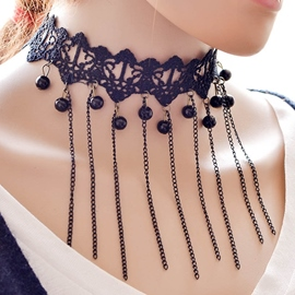 Ericdress Chain Tassel Lace Necklace