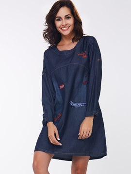 Ericdress Round Neck Long Sleeve Loose Casual Dress