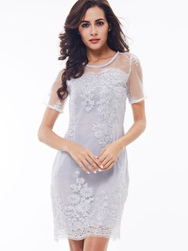 Ericdress Mesh Patchwork Embroidery See-Through Bodycon Dress