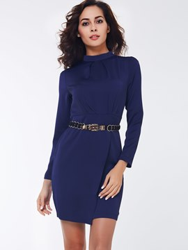 Ericdress Plain Stand Collar Long Sleeve Bodycon Dress