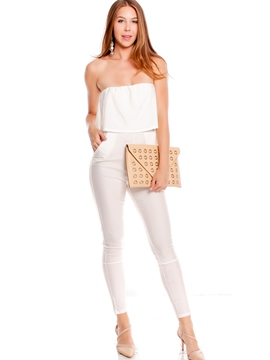 Ericdress Solid Color Strapless Jumpsuits Pants