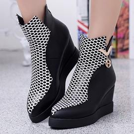 Ericdress Special Patchwork Point Toe Wedge Heel Ankle Boots