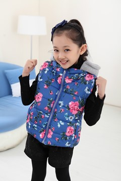 Ericdress Waistcoat Floral Printed Hooded Girls Outerwear