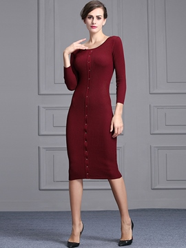 Ericdress Solid Color Round Neck Long Sleeve Slim Sweater Dress