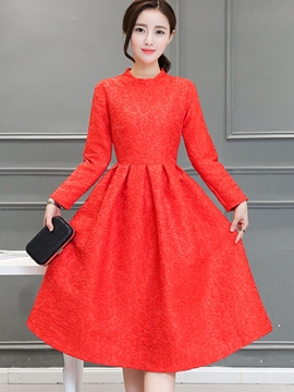 Ericdress Solid Color Pleated Stand Collar Long Sleeve Casual Dress