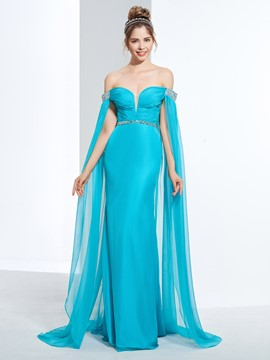 Ericdress Sheath Off-the-Shoulder Beading Pleats Sequins Watteau Train Prom Dress