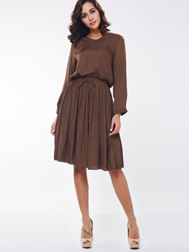 Ericdress Solid Color Long Sleeve Expansion Casual Dress