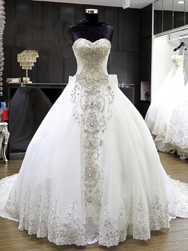 Ericdress Gorgeous Beaded Ball Gown Wedding Dress
