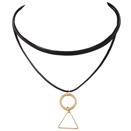 Ericdress Geometric Pendant PU Choker Necklace