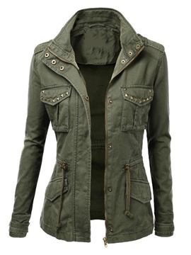 Ericdress Army Green Rivet Lace-Up Slim Jacket