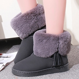 Ericdress Round Toe Flat Low Heel Short Floss Snow Boots