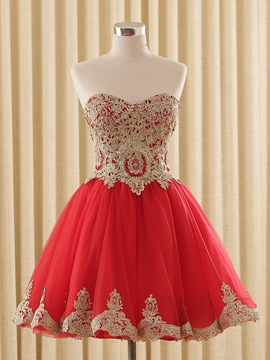Ericdress A-Line Sweetheart Cap Sleeves Appliques Short Homecoming Dress