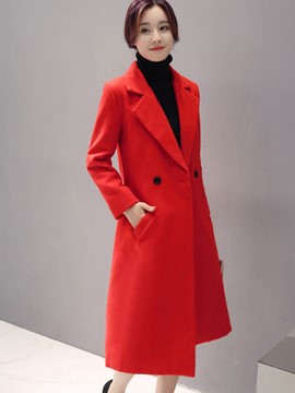 Ericdress Long Solid Color Slim Coat