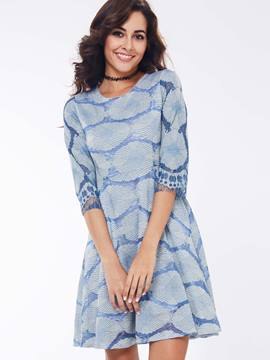 Ericdress Print Three-Quarter Sleeve Casual Dress