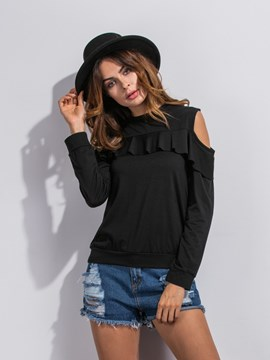 Ericdress Blck Cold Shoulder Slim Knitwear