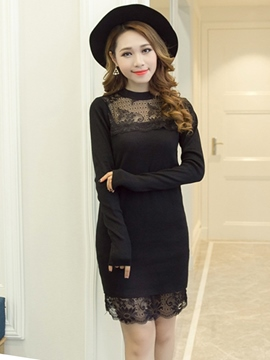 Ericdress Lace Patchwork Knit Sweater Dress