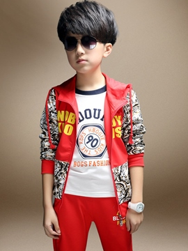 Earicdress Printing Pocket Patchwork Cardigan Two-Piece Boys Outfit