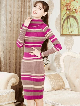 Ericdress Stripe Turtleneck Long Sleeve Sweater Dress