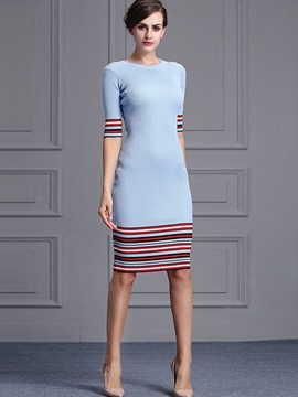 Ericdress Stripe Half Sleeve Sweater Dress