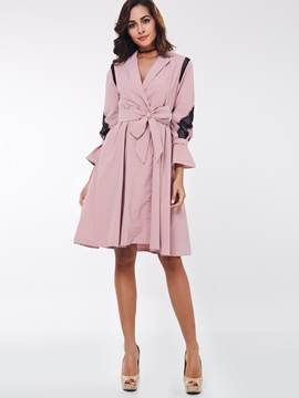 Ericdress Pink Tie Bow Detail A Line Trench Coat