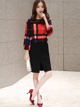 Ericdress Ladylike Plaid Top Suit