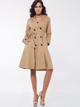 Ericdress Double Breasted with Belt Trench Coat