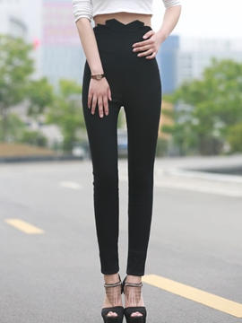 Ericdress Solid Color High-Rise Leggings Pants
