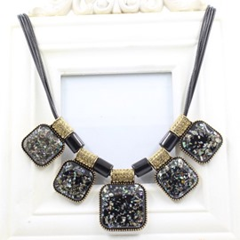 Ericdress Square Gemstones Pendant Necklace